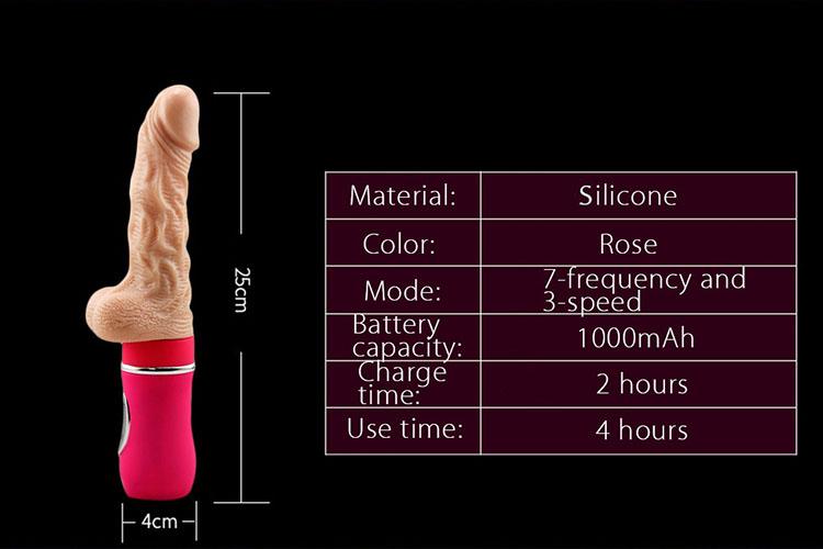 dương vật giả cầm tay silicon tự động rung thụt phát nhiệt cao cấp